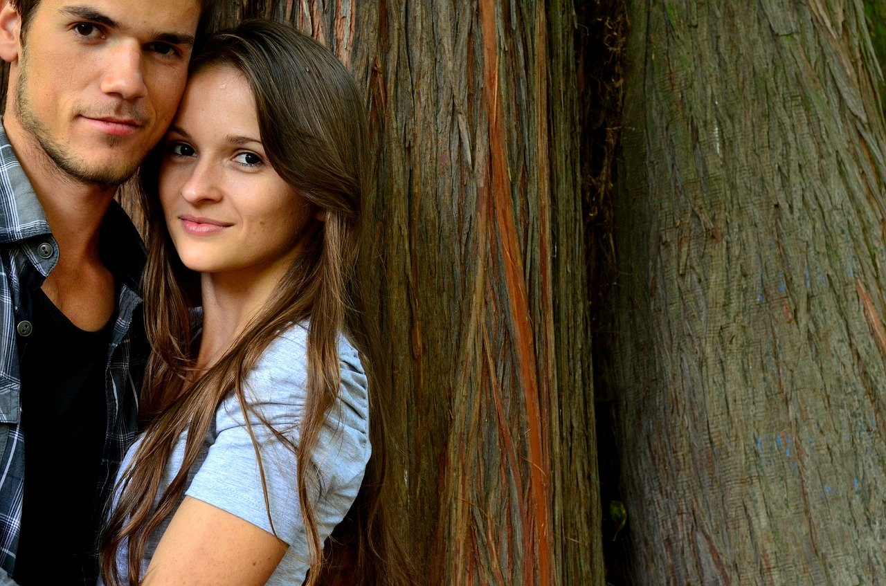 young couple, fall in love with, background
